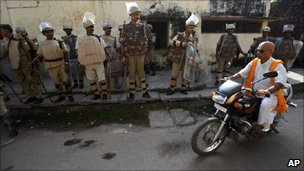 Security forces in Ayodhya
