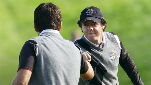 Graeme McDowell and Rory McIlroy during practice for the Ryder cup at Celtic Manor