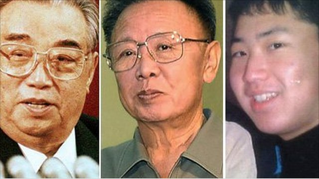 From left to right: Kim Il-sung, Kim Jong-il and the man believed to be Kim Jong-un