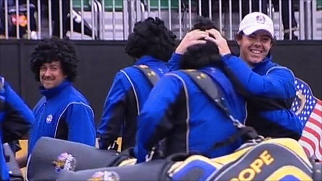 Rory McIlroy is surprised by team-mates wearing curly wigs