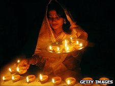 Indian woman celebrates Diwali