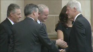 Mr Clinton met the First and Deputy First Ministers in Londonderry