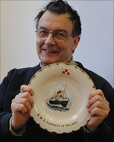 "Roger Creegan from Burnley holds his display dish from the ""Empress of Ireland"""