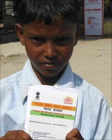 Boy with UID card in Tembhli