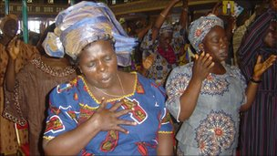 Worshippers at a church in Lagos, Nigeria