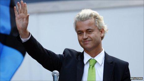 Geert Wilders addressing the anti-Islamic centre rally at Ground Zero, New York, 11 September