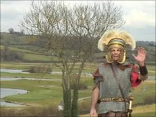 Centurion Flavius leads the Roman Caerleon tour