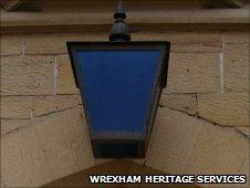 Blue lamp outside old Wrexham police station
