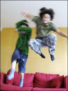 Children jumping on sofa