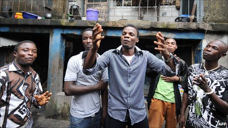 Vocal Slender and his band in Lagos, Nigeria