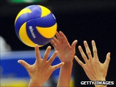 Volleyball players in action