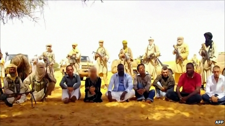 Screen grab from video showing seven hostages being held by al-Qaeda in the Islamic Maghreb (30 September 2010)