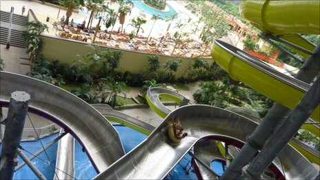 A water slide inside Tropical Islands