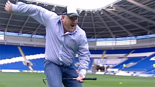 Scrum V's Rick O'Shea masters the old golf-club horse-riding technique after his pitching success