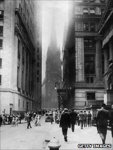 Photo dated 1929, released 28 October 2004, showing a view of Wall Street in New York during the financial crisis