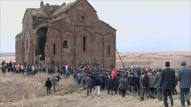 Muslims gather at the 11th Century cathedral at Ani