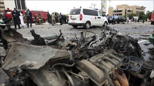 Wreckage of car in blown up in Abuja