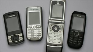 A range of old mobile phones