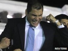 Rafael Correa after returning to the presidential palace