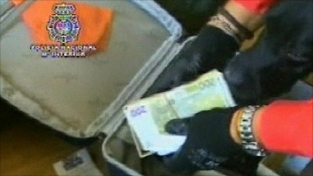 Police footage showing money