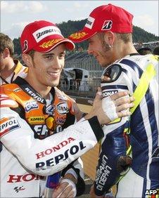 Andrea Dovizioso (l) and Valentino Rossi
