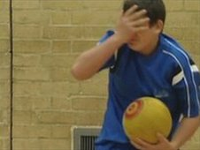A dodgeball player