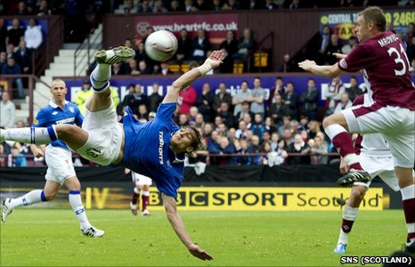 Nikica Jelavic tries his luck with an acrobatic volley