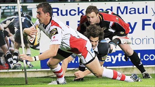Scrum-half Ruan Tienaar scores his first try for Ulster