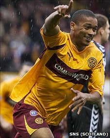 Chris Humphrey celebrates his early strike at Fir Park