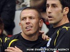 Cardiff goal-scorer Craig Bellamy (left) is congratulated by Peter Whittingham