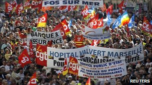 Private and public sector workers demonstrate over pension reforms in Marseille