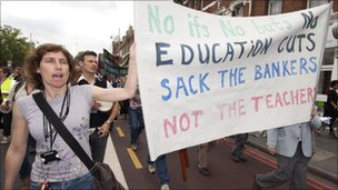 Staff and students from Lambeth College march through south London, on June 21, 2010, in protest against proposed cuts in the education service,