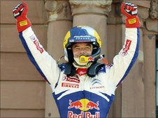 Sebastien Loeb celebrates winning his seventh world rally title