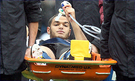 Newcastle winger Hatem Ben Arfa is stretchered off against Man City