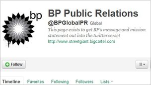 fake BP twitter feed BPGlobalPR