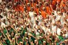 Children depict the Indian flag at the Commonwealth Games opening ceremony