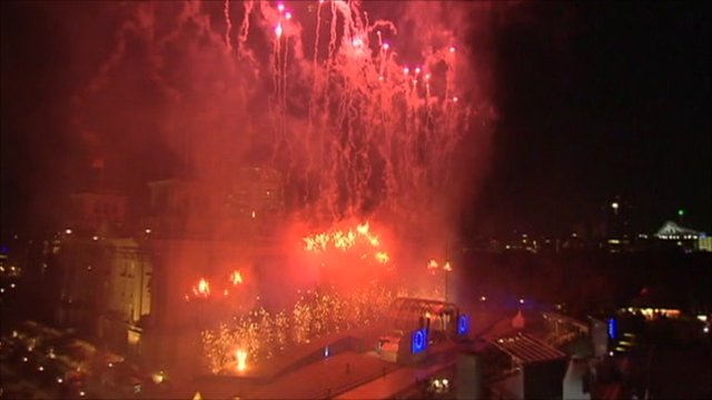 Fireworks in Berlin to the mark the anniversary of Germany's reunification