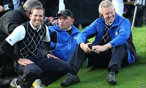 Sergio Garcia, Thomas Bjorn and Colin Montgomerie