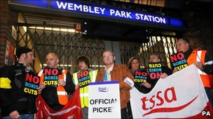 Union members in Wembley Park station
