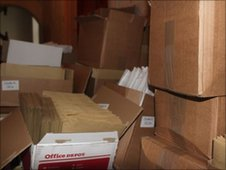 Boxes of entry forms waiting to be posted