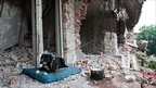 A dog lies on a cushion in the ruins