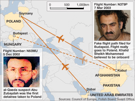 A graphic showing alleged rendition flights