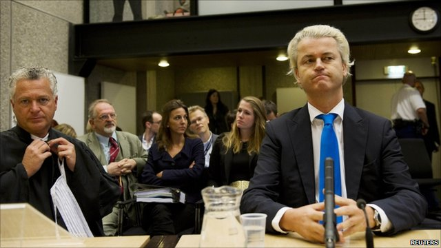 Geert Wilders (right) in court in Amsterdam with his lawyer Bram Moszkowicz, 4 October