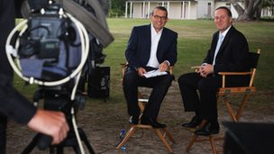 New Zealand Prime Minister John Key (R) is interviewed by Paul Henry in 2009