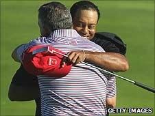 Tiger Woods celebrates his singles victory