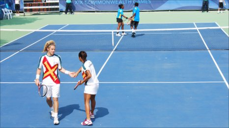 Patrick Ogier and Heather Watson in the mixed doubles in the Commonwealth Games in Delhi