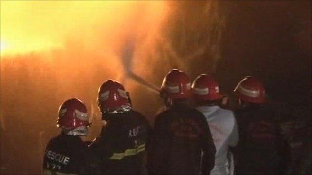Fire services attack the blaze