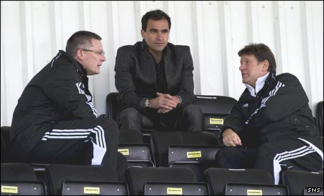 Scotland coach Craig Levein, Wigan manager Roberto Martinez and Scotland scout Mick Oliver