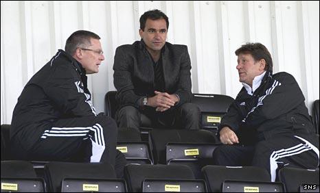 Scotland coach Craig Levein, Wigan manager Roberto Martinez and Scotland scout Mick Oliver