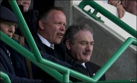 John Hughes and Rod Petrie in the Easter Road stand